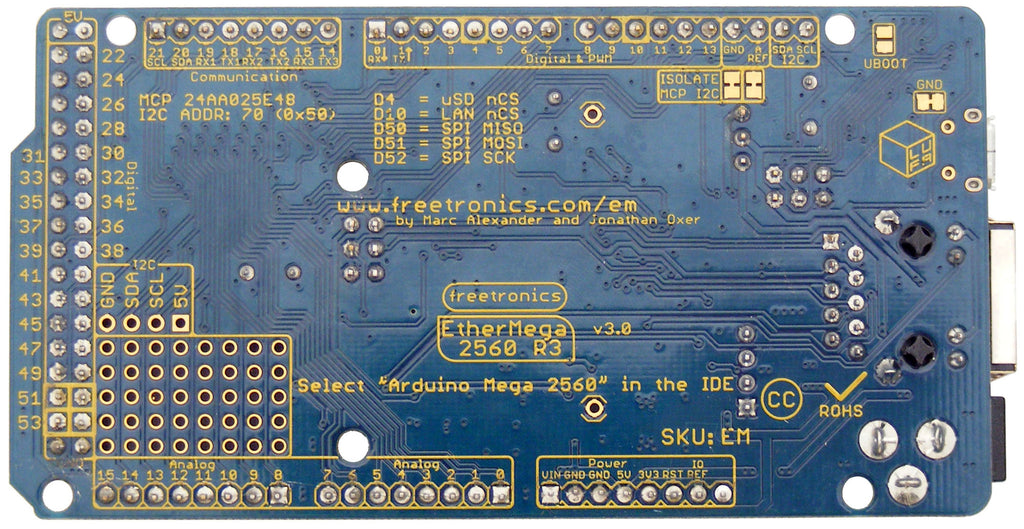 EtherMega (100% Arduino Mega 2560 compatible with onboard