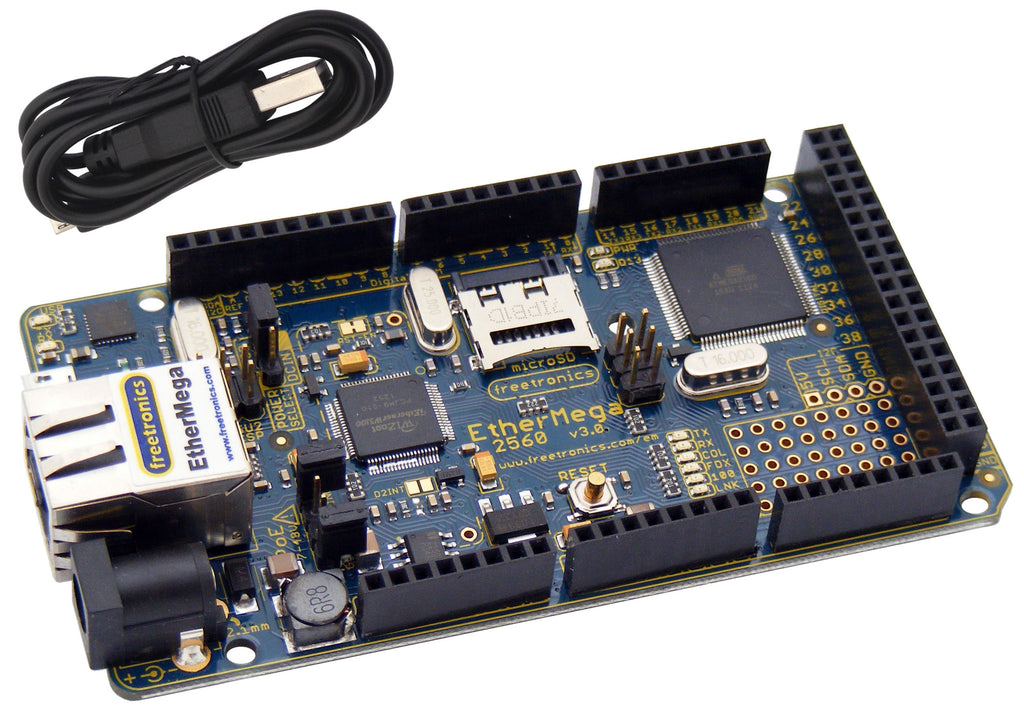 EtherMega (100% Arduino Mega 2560 compatible with onboard Ethernet