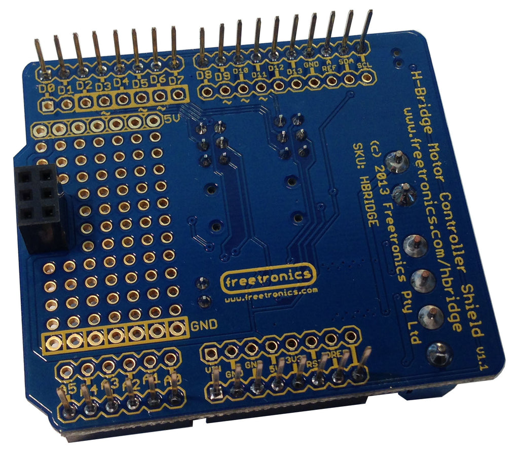 2 Channel H-Bridge Motor Driver Shield for Arduino | Freetronics
