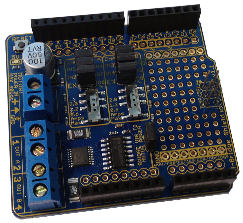 2 Channel H Bridge Motor Driver Shield For Arduino Freetronics Power Over Ethernet Dual