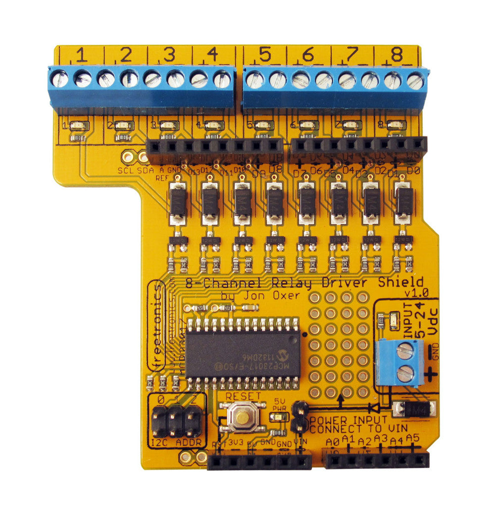 8Channel Relay Driver Shield Freetronics