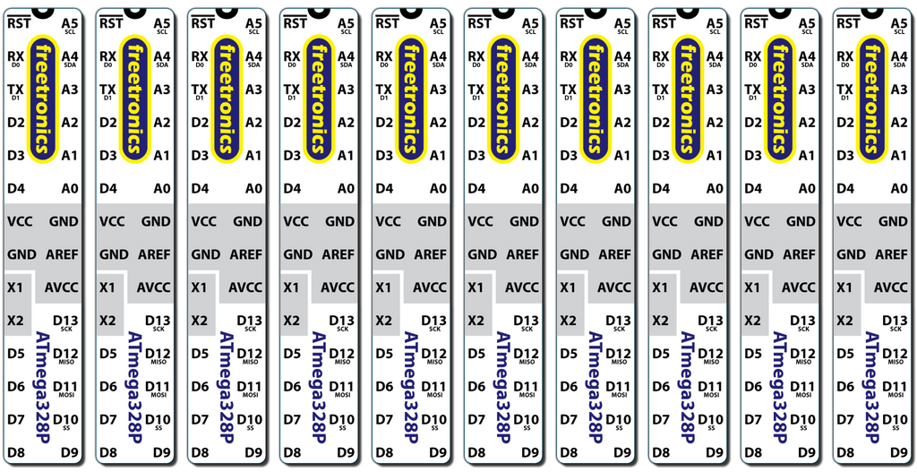 Microcontroller Labels - Arduino pinout | Freetronics
