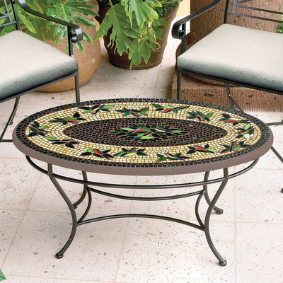 Finch Mosaic Coffee Table - Oval-Iron Accents