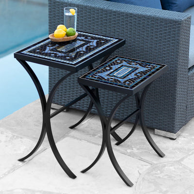 Navagio Mosaic Nesting Tables-Iron Accents