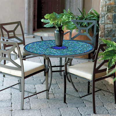 Opal Glass Mosaic Patio Table-Iron Accents