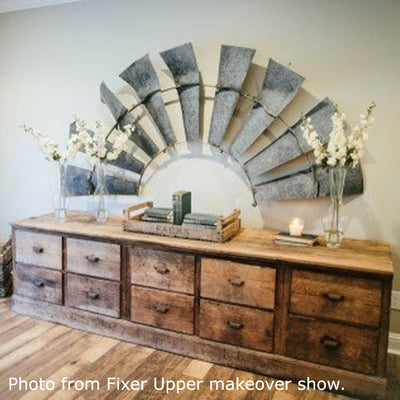 1/2 Windmill Wall Plaque Shown over Credenza