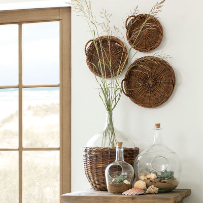Round Willow Trays (Set-3)-Iron Accents