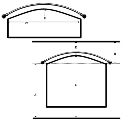 Custom Arch / Eyebrow Window Rods-Iron Accents