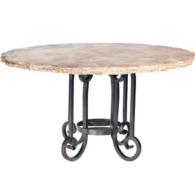 Curled Leg Round Dining Table with Marble Top