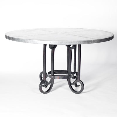 Curled Leg Round Dining Table with Zinc Top