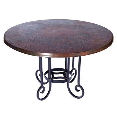 Curled Leg Round Dining Table with Dark Copper Top
