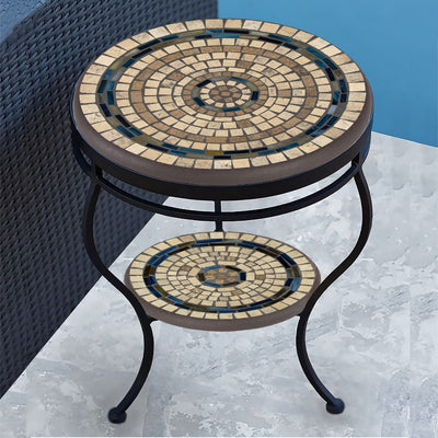 Slate Stone Mosaic Side Table - Tiered-Iron Accents