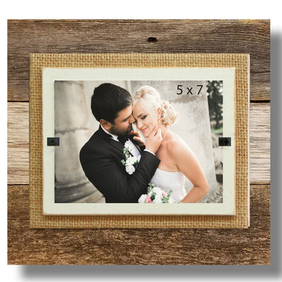Reclaimed Wood & Burlap Frame - Small