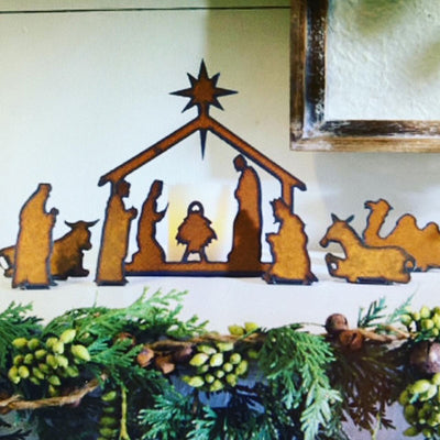 Metal Nativity Scene-Iron Accents