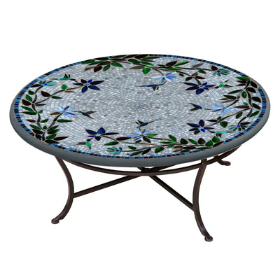 Royal Hummingbird Mosaic Coffee Table-Iron Accents