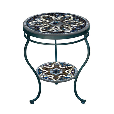 Grigio Mosaic Side Table - Tiered-Iron Accents