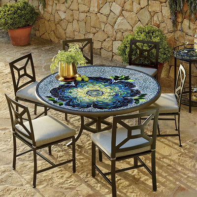 Giovella Mosaic Patio Table-Iron Accents