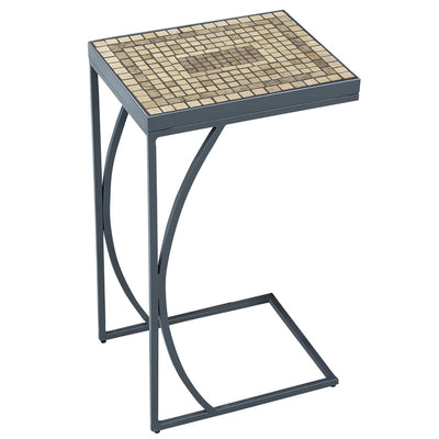 Marble Stone Mosaic C-Table-Iron Accents
