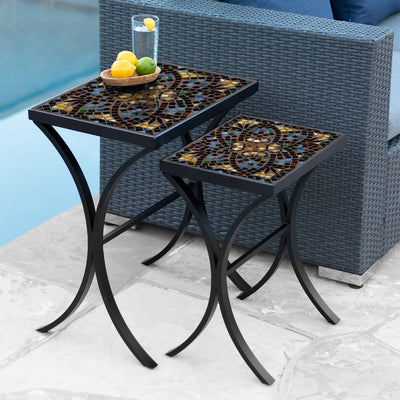 Monaco Mosaic Nesting Tables-Iron Accents