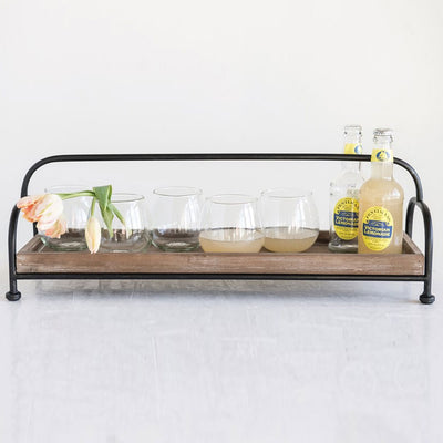 Footed Wood Tray Organizer