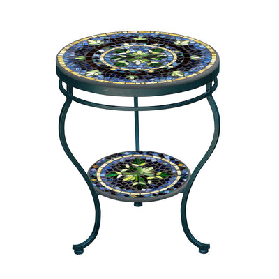Lake Como Mosaic Side Table - Tiered-Iron Accents