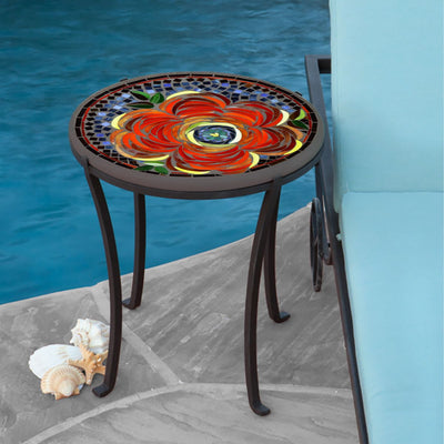 Zinnia Mosaic Chaise Table-Iron Accents