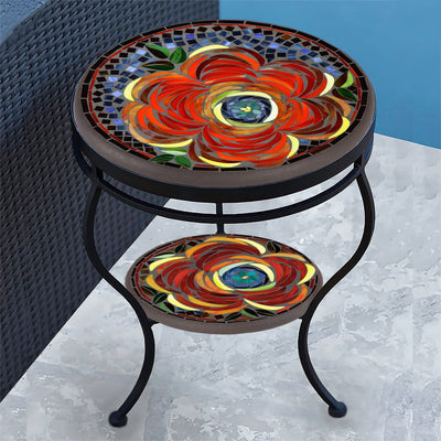 Zinnia Mosaic Side Table - Tiered-Iron Accents