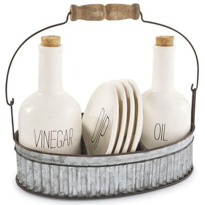Oil and Vinegar Appetizer Set-Iron Accents