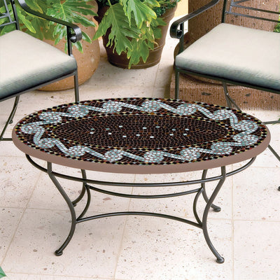 Oasis Mosaic Coffee Table - Oval-Iron Accents