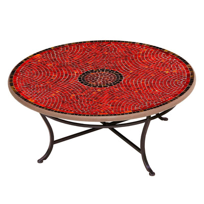 Ruby Glass Mosaic Coffee Table-Iron Accents