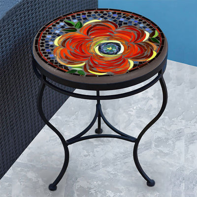 Zinnia Mosaic Side Table-Iron Accents