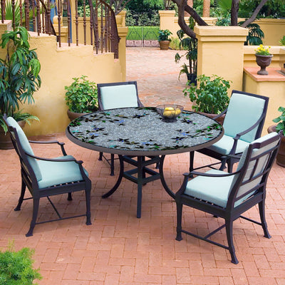 Royal Hummingbird Mosaic Patio Table-Iron Accents