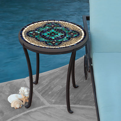 Sardinia Mosaic Chaise Table-Iron Accents