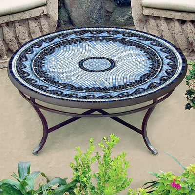 Navagio Mosaic Coffee Table-Iron Accents