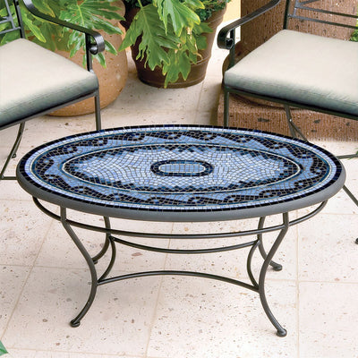 Navagio Mosaic Coffee Table - Oval-Iron Accents