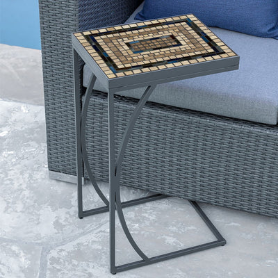 Slate Stone Mosaic C-Table-Iron Accents