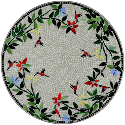 Hummingbird Mosaic Table Tops-Iron Accents