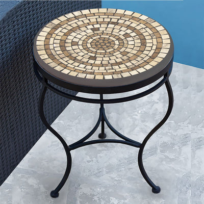 Marble Stone Mosaic Side Table-Iron Accents