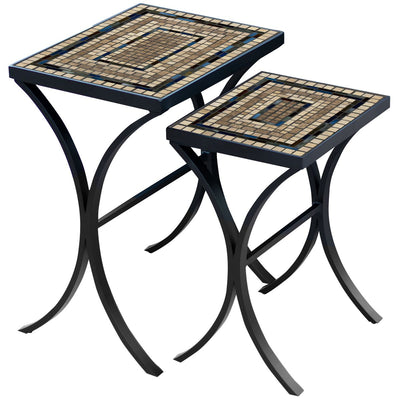 Slate Stone Mosaic Nesting Tables-Iron Accents