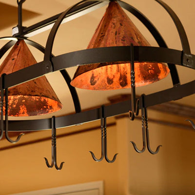 Oval Dutch Lighted Pot Rack-Iron Accents