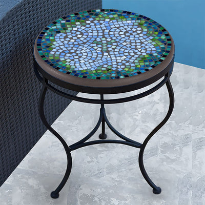 Belize Mosaic Side Table-Iron Accents