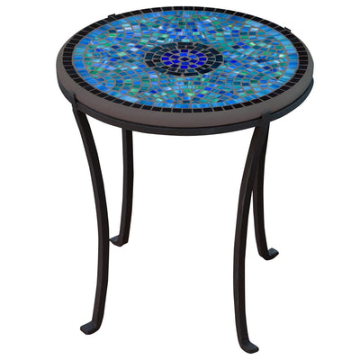 Opal Glass Mosaic Chaise Table-Iron Accents