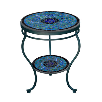 Opal Glass Mosaic Side Table - Tiered-Iron Accents
