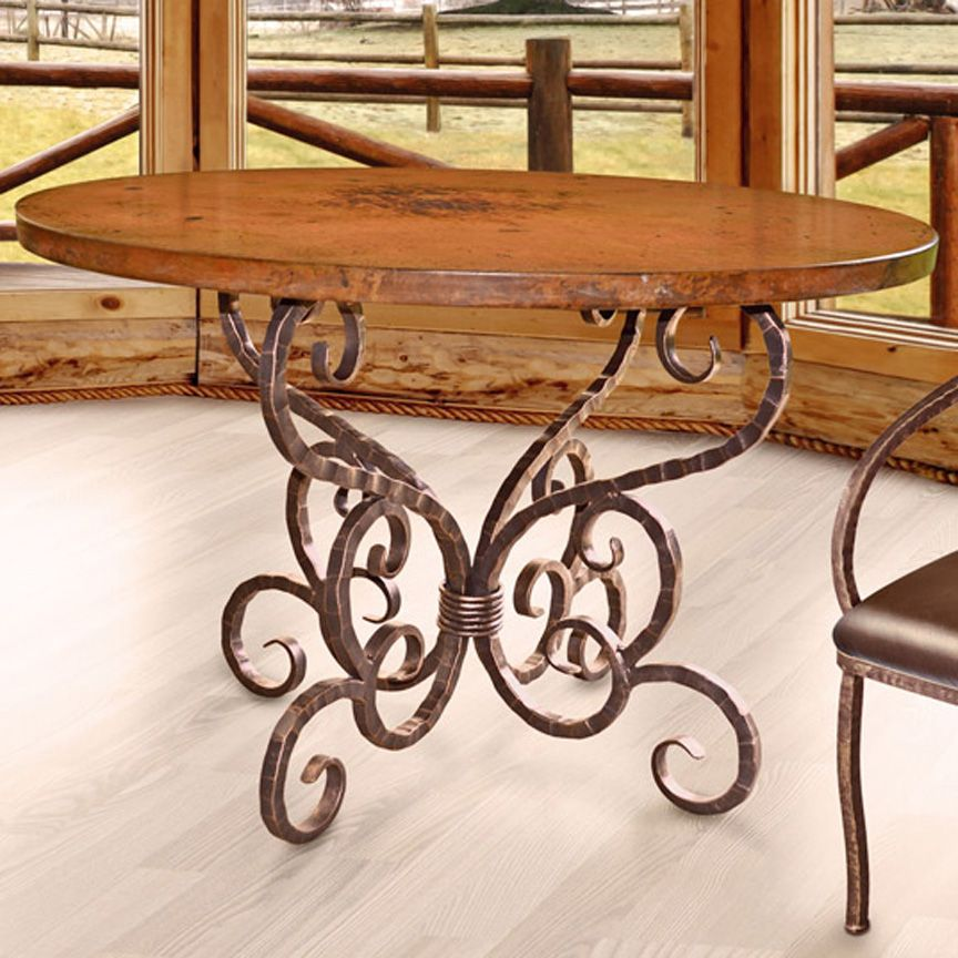 Aztec Round Dining Table Base Iron Accents