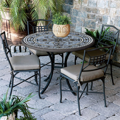 Roma Mosaic Patio Table-Iron Accents