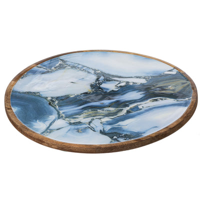 Faux Agate Lazy Susan-Iron Accents