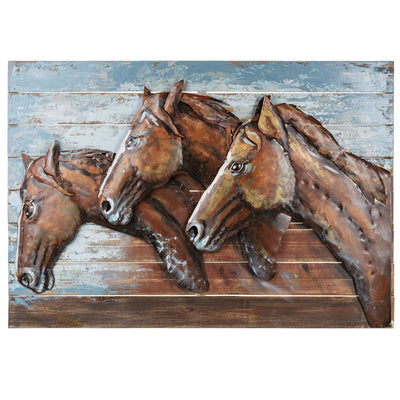 Running Horses Metal Wall Art
