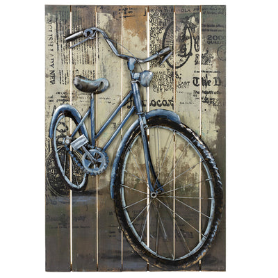 Metal Wall Art Bike-Iron Accents