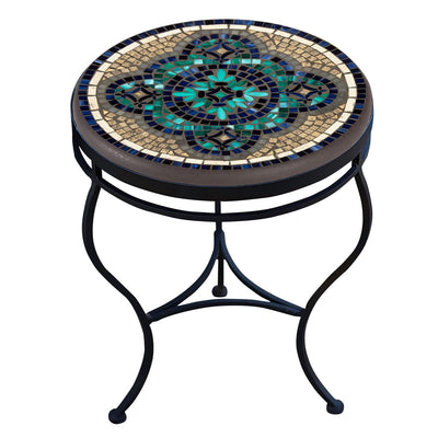 Sardinia Mosaic Side Table-Iron Accents