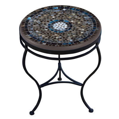Slate Glass Mosaic Side Table-Iron Accents